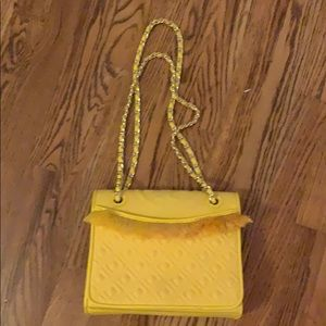 Tory Burch Yellow Fringe Fleming Canvas Quilted Ba